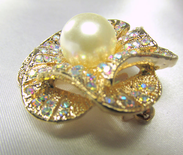Crystal AB and Pearl Rose 1.75 inch Brooch on Gold-Brooch-Odyssey Cache