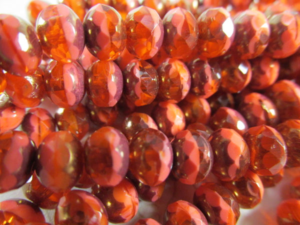 Coral Bronze Wash 7mm or 5mm Czech Glass Faceted Rondelle Jewelry Beads-Jewelry Beads-Odyssey Cache