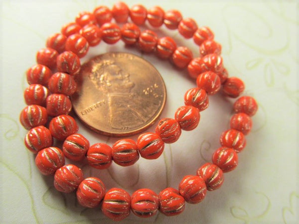 Coral Bronze Wash 4mm or 6mm Czech Glass Fluted Melon Jewelry Beads - Odyssey Cache