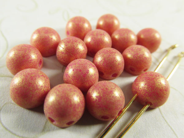 Pacifica Watermelon Coral 7mm 2-hole Round Cabochon Jewelry Beads (15)-Jewelry Beads-Odyssey Cache