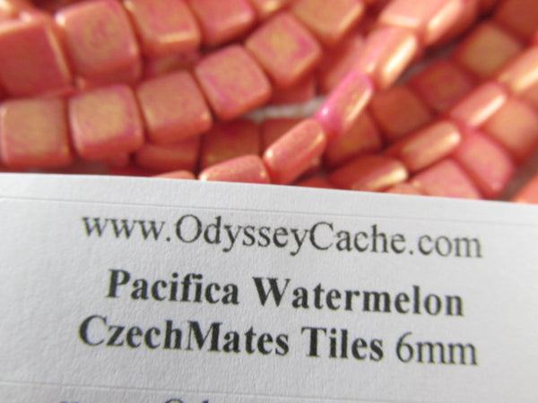 Pacifica Watermelon Coral 2-Hole CzechMate 6mm Square Tile Jewelry Beads-Jewelry Beads-Odyssey Cache