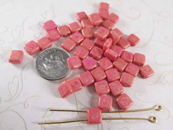 Pacifica Watermelon Coral 2-Hole CzechMate 6mm Square Tile Jewelry Beads-Jewelry Beads-25 beads (loose)-Odyssey Cache