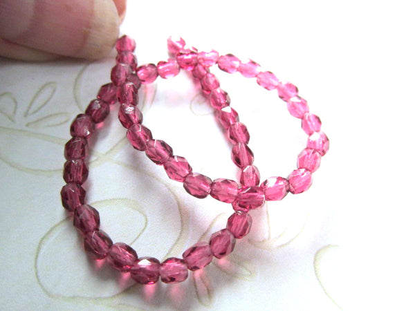 Fuchsia Pink Czech Glass 3mm Faceted Fire Polished Jewelry Beads (50)-Jewelry Beads-Odyssey Cache