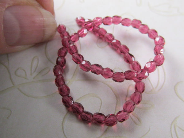 Fuchsia Pink Czech Glass 3mm Faceted Fire Polished Jewelry Beads (50) - Odyssey Cache
