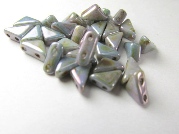 Chalk Lumi Green 2 Hole Czech Glass Tango Beads (25) - Odyssey Cache