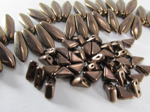 Dark Bronze 16mm x 5mm CzechMates 2 Hole Dagger Beads (18) - Odyssey Cache