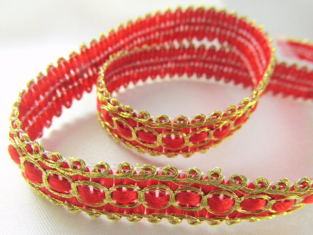 Ivory Gold, Red Gold, Brown Bronze or Teal Gold Half Inch 10mm Flat Woven Braid Trim-Trims-Red Gold-Odyssey Cache