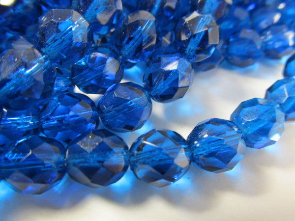 Capri Blue 8mm Czech Glass Fire Polished Jewelry Beads (25) - Odyssey Cache