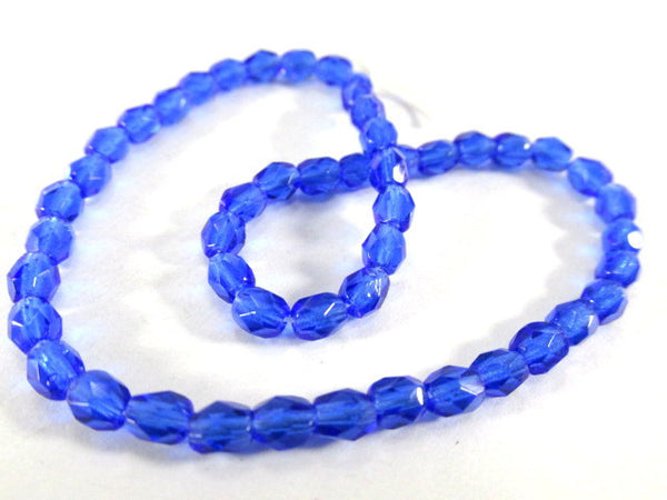 Cobalt Blue 4mm Czech Glass Fire Polished Jewelry Beads (50) - Odyssey Cache