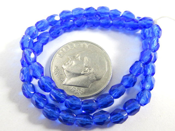 Cobalt Blue 4mm Czech Glass Fire Polished Jewelry Beads (50) - Odyssey Cache - 3