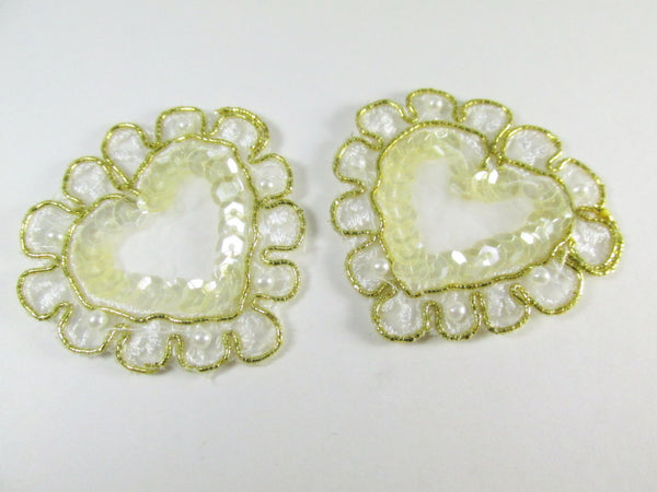 Ivory and Gold Sequin & Pearl Heart Appliques (2)-Appliques-Odyssey Cache