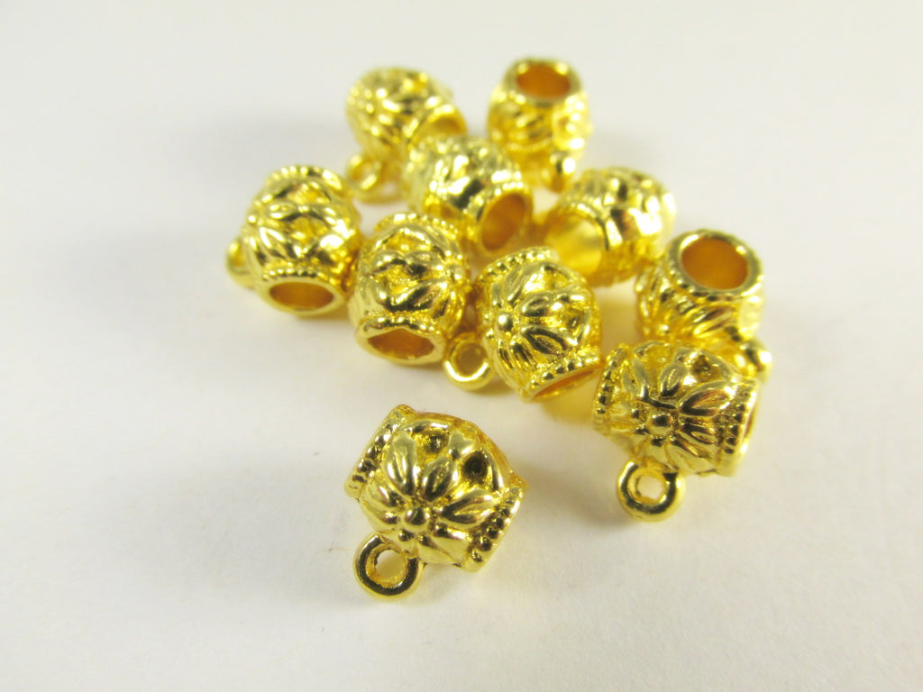 Gold 4mm Large Hole Charm Holders Pewter Metal Beads-Metal Beads and Findings-Odyssey Cache
