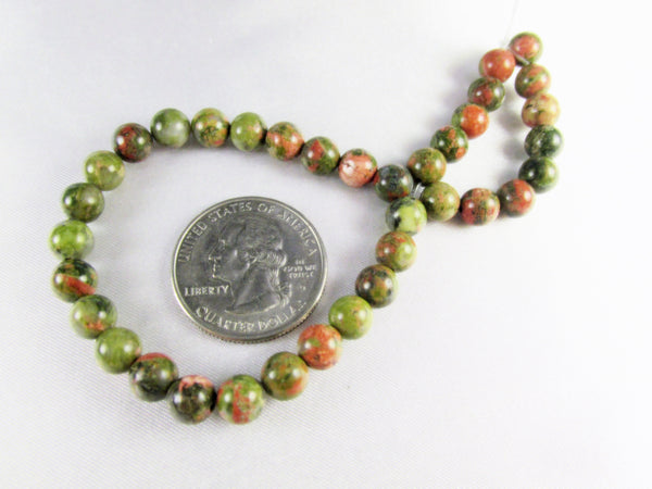 Unakite 4mm Smooth Round Semiprecious Stone Beads (36)-Jewelry Beads-Odyssey Cache