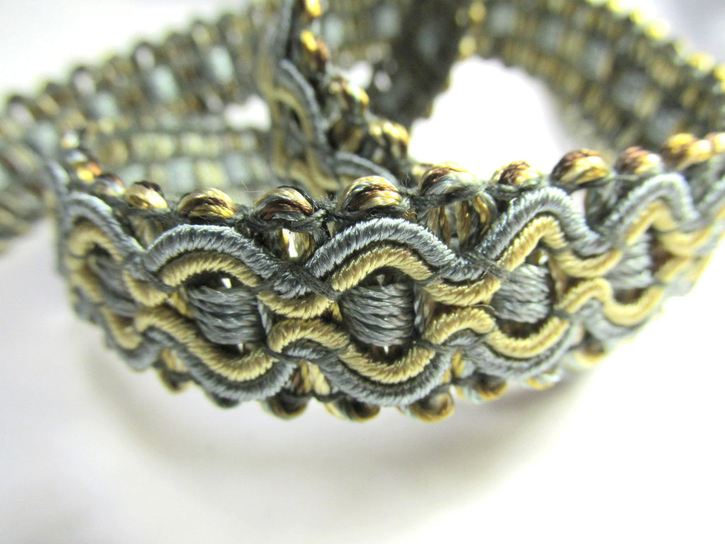 Slate Gray and Gold 5/8 inch Fancy Braided Decorator Gimp Trim - Odyssey Cache