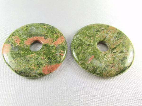 Unakite Semiprecious Stone 40mm Donut Pendant-Jewelry Beads-Default Title-Odyssey Cache