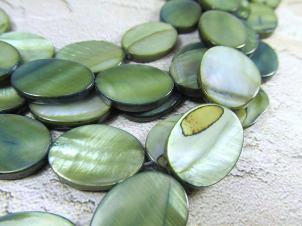 Mother of Pearl 18mm Flat Oval Coin Shell Jewelry Beads-Jewelry Beads-Teal Green-Odyssey Cache