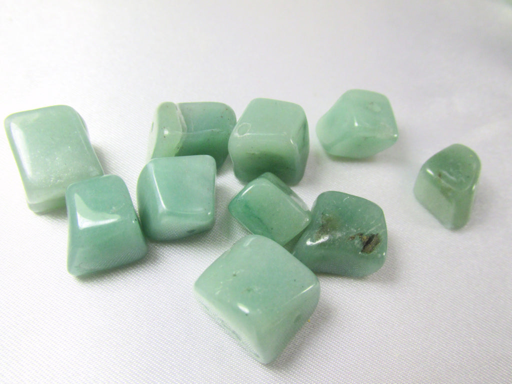 Green Aventurine Smooth 10mm Nuggets (11)-Jewelry Beads-Odyssey Cache