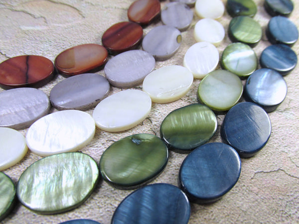 Mother of Pearl 18mm Flat Oval Coin Shell Jewelry Beads-Jewelry Beads-Odyssey Cache