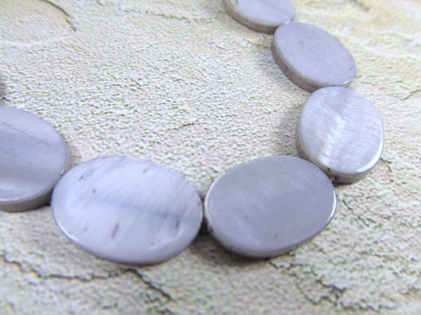 Mother of Pearl 18mm Flat Oval Coin Shell Jewelry Beads - Odyssey Cache