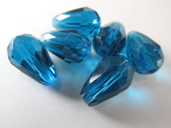 Peacock Blue Teal 14mm x 10mm Faceted Crystal Teardrops (6)
