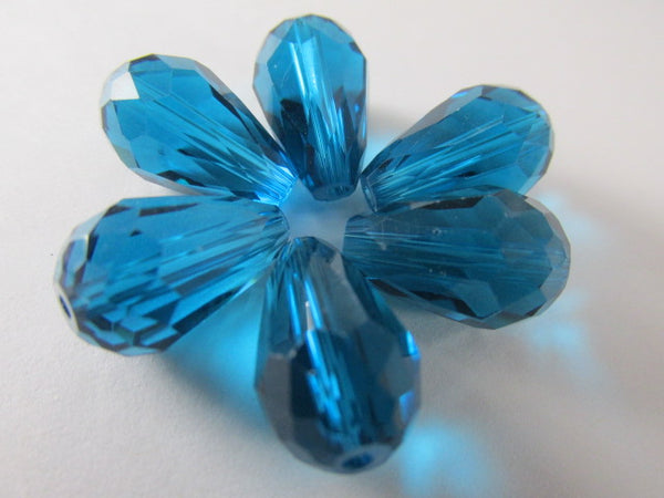 Peacock Blue Teal 14mm x 10mm Faceted Crystal Teardrops (6) - Odyssey Cache