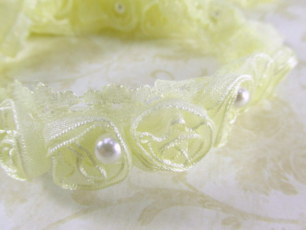 Buttercream Ivory Organza Rosettes with Pearl Centers Lace Trim-Trims-Odyssey Cache