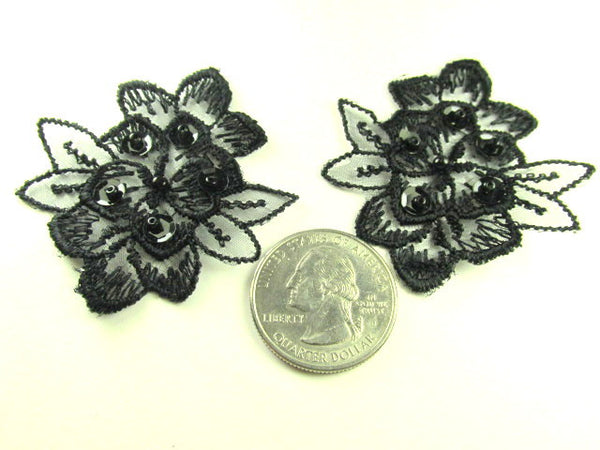Black or Black AB Lace Beaded and Sequined Flower Appliques (2)-Appliques-Odyssey Cache