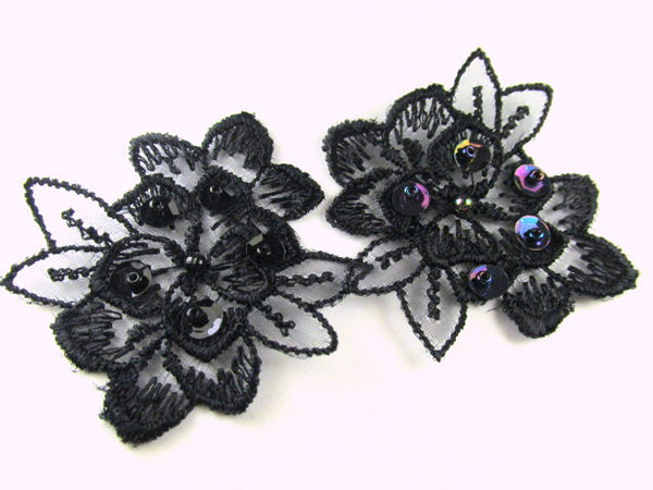Black or Black AB Lace Beaded and Sequined Flower Appliques (2) - Odyssey Cache