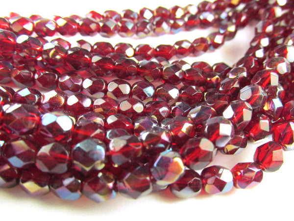 Berry Red Dicora Czech Glass 6mm Faceted Fire Polished Jewelry Beads (25)-Czech Glass-Odyssey Cache