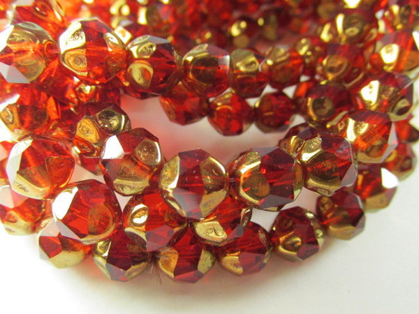 Marsala Dark Red and Gold Bronze Czech Glass 10mm Faceted Central Cut Jewelry Beads-Czech Glass-10 beads-Odyssey Cache