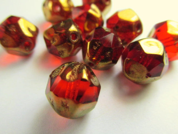 Marsala Dark Red and Gold Bronze Czech Glass 10mm Faceted Central Cut Jewelry Beads - Odyssey Cache