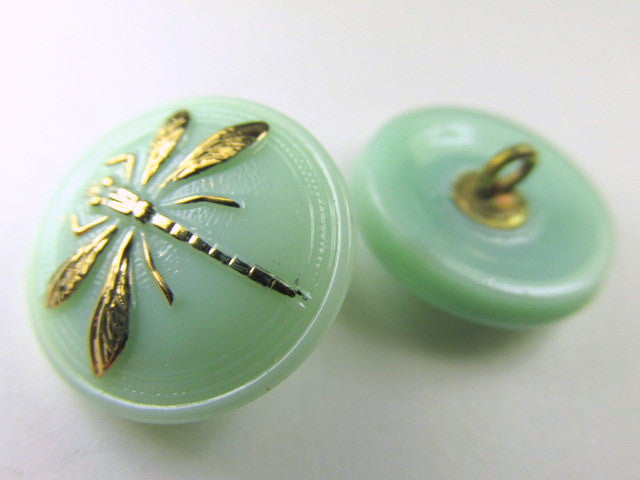 Dragonfly Czech 18mm Button in Light Mint Green and Gold-Jewelry Beads-Odyssey Cache