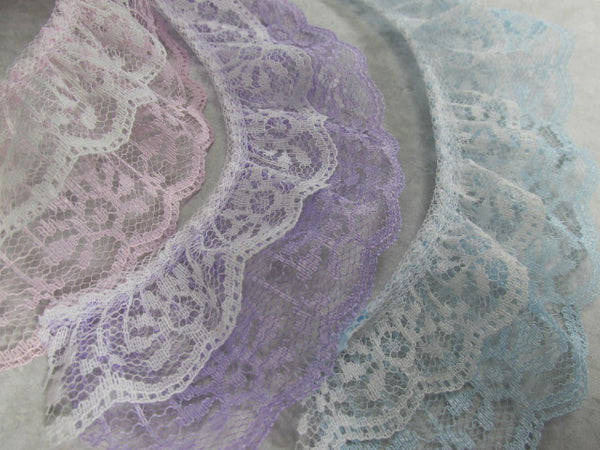 Double Layer Ruffled 2 Inch Lace Trim in White and Lavender, Pale Pink, or Baby Blue-Trims-Odyssey Cache