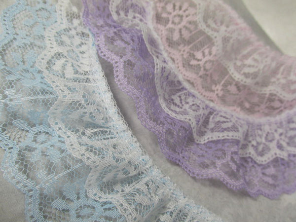 Double Layer Ruffled 2 Inch Lace Trim in White and Lavender, Pale Pink, or Baby Blue - Odyssey Cache