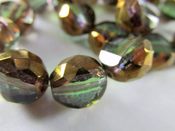 Olive Green and Copper Picasso Czech Faceted Sliced Rounds - Odyssey Cache