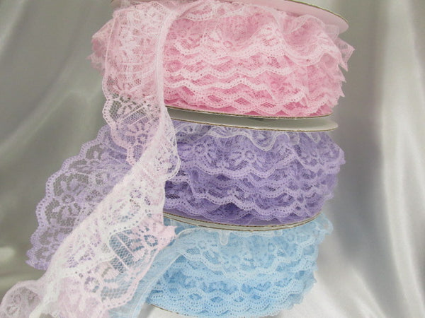 Double Layer Ruffled 2 Inch Lace Trim in White and Lavender or Pale Pink-Trims-Odyssey Cache
