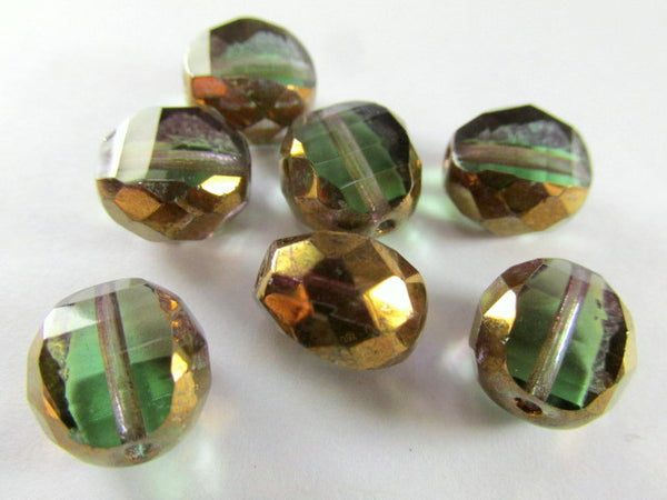 Olive Green and Copper Picasso Czech Faceted Sliced Rounds-Jewelry Beads-Odyssey Cache