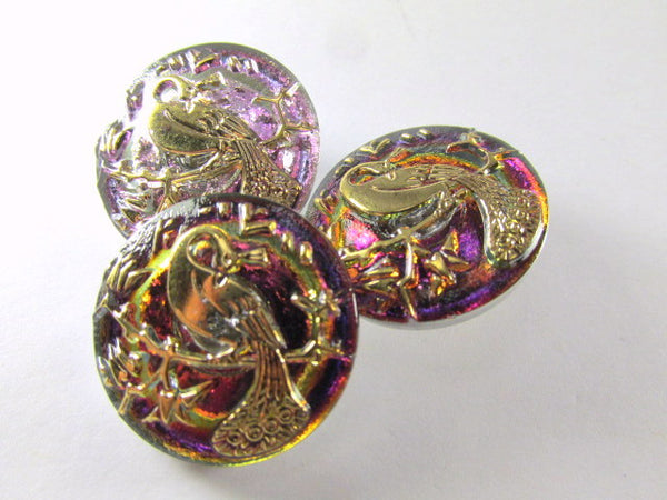 Peacock Lavender and Gold Czech Glass 22mm Button-Buttons-Odyssey Cache