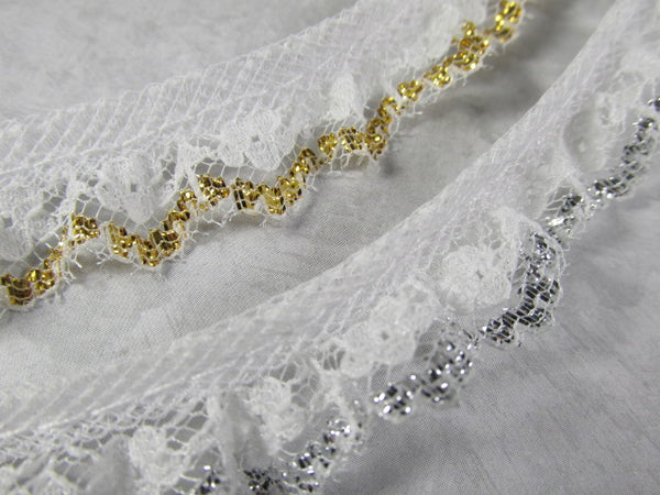 White Ruffled Lace with Metallic Gold or Metallic Silver Threads Holiday, Christmas or Costume Trim - Odyssey Cache