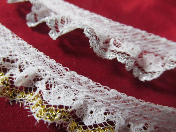 White Ruffled Lace with Metallic Gold or Metallic Silver Threads Holiday, Christmas or Costume Trim-Trims-White/Silver-Odyssey Cache