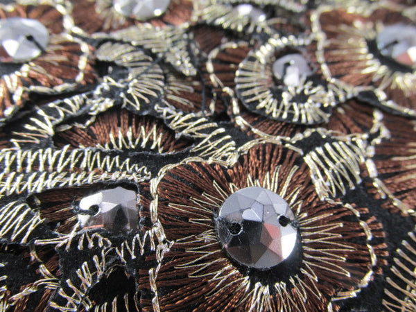 Brown, Black and Bronze Iron On Flower Trim or Appliques-Appliques-1 applique-Odyssey Cache