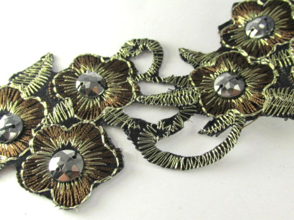 Brown, Black and Bronze Iron On Flower Trim or Appliques-Appliques-1 yard (12 appliques)-Odyssey Cache
