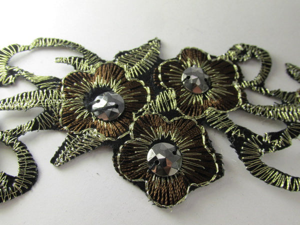 Brown, Black and Bronze Iron On Flower Trim or Appliques-Appliques-1/2 yard (6 appliques)-Odyssey Cache