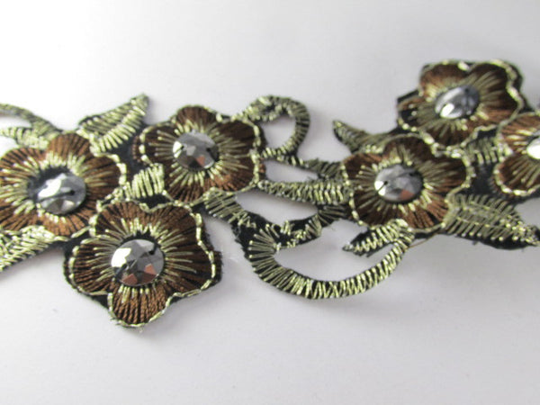 Brown, Black and Bronze Iron On Flower Trim or Appliques-Appliques-Odyssey Cache