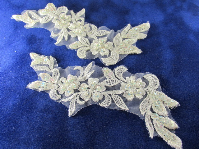 White AB Beaded and Sequined 6 x 2.5 Inch Appliques (2) - Odyssey Cache