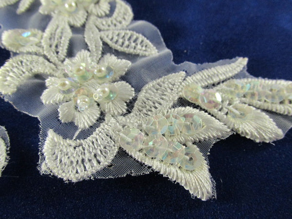 White AB Beaded and Sequined 6 x 2.5 Inch Appliques (2)-Appliques-Odyssey Cache