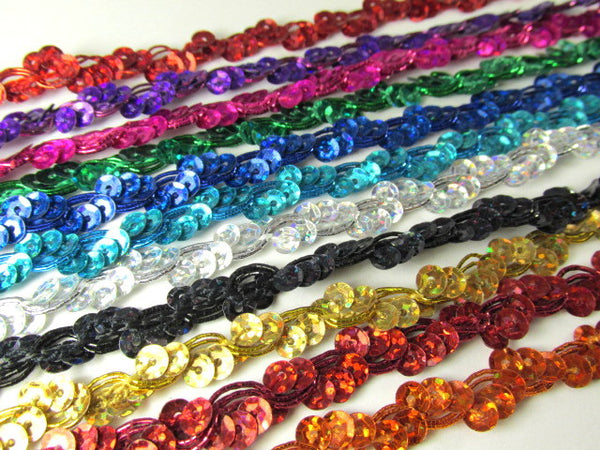 Narrow Wavy 3/8 inch Sequined Trim in Red, Silver, Gold, Turquoise, Rust, Fuchsia and Purple - Odyssey Cache