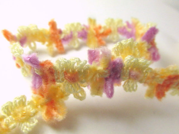 Soft 1/2 Inch Chenille Daisy Flower Trim in 5 spring, summer and autumn colors-Trims-Summer Orange Lavender Yellow-Odyssey Cache