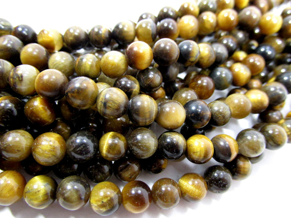 Tigers Eye Golden Brown 6mm Round Semiprecious Stone Beads (30) - Odyssey Cache - 1