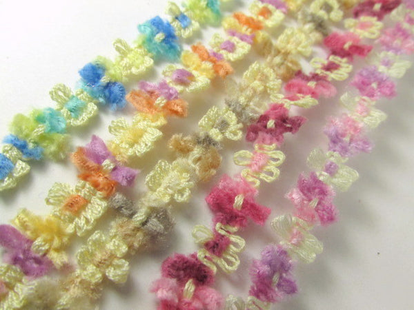 Soft 1/2 Inch Chenille Flower Trim in 5 spring, summer and autumn colors-Trims-Beach Aqua Blue Yellow-Odyssey Cache